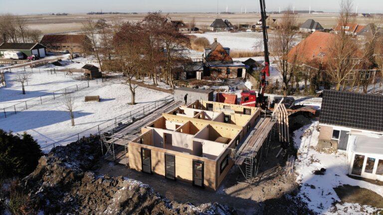 De nieuwbouw vanuit de lucht gezien